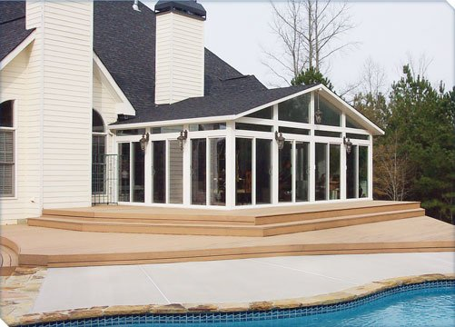 A-frame sunroom by the pool