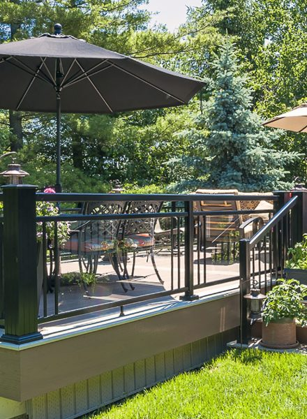 Black Aluminum Railing with Double Top Rail