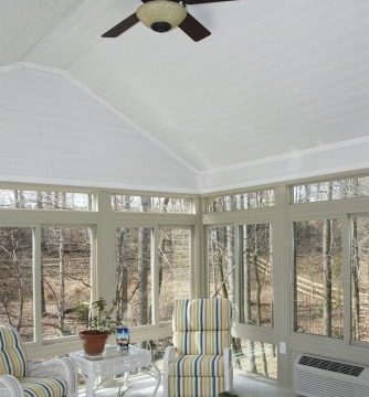 wood plank ceiling option for your sunroom