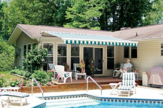 Retractable Awning by the Swimming Pool