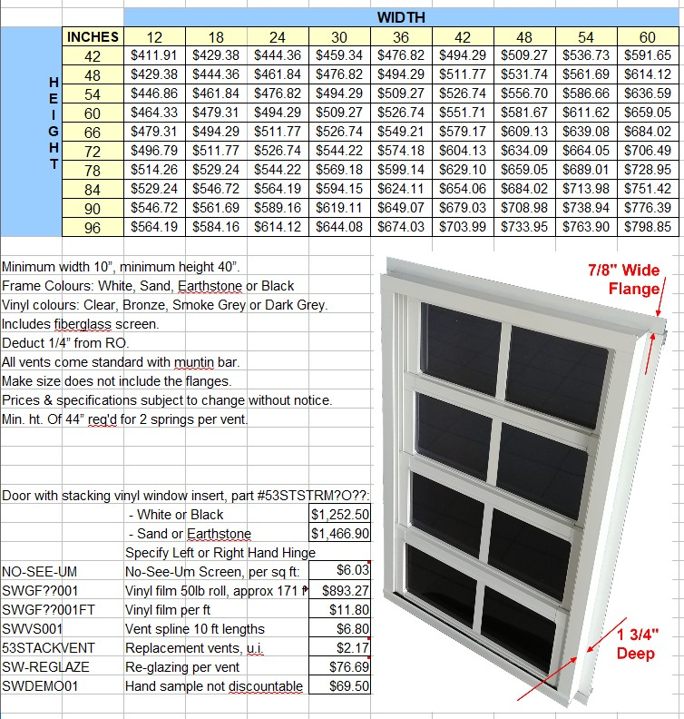 Stacking Windows Price List 2021
