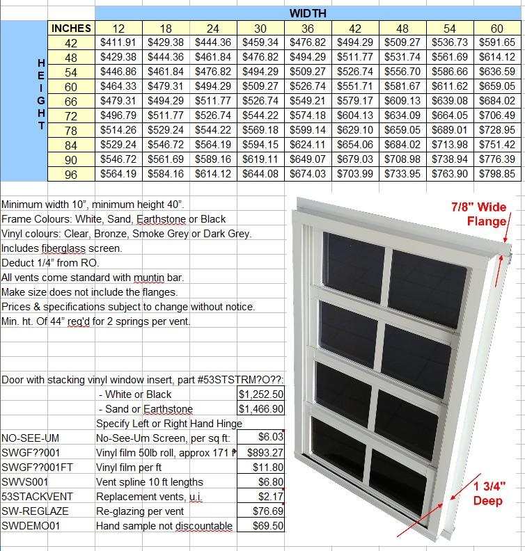 Stacking Windows Price List 2021