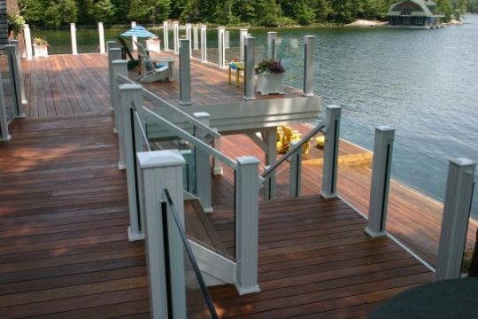 glass railing by the lake