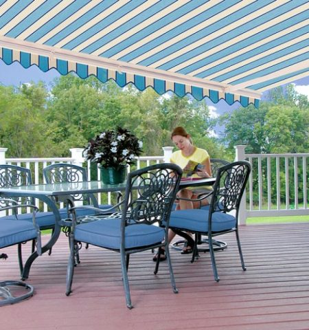 Under Retractable Awning Enjoying the Shade