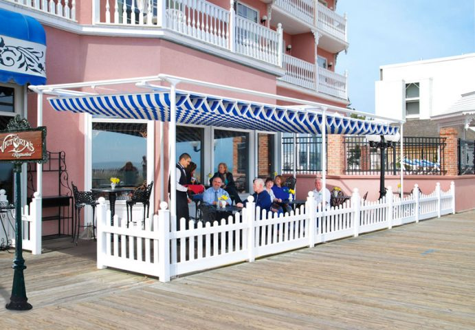 Retractable fabric for restaurants- protection from sun