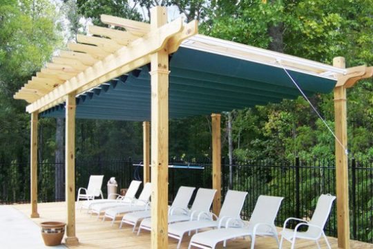 Retractable Fabric Canopy Excellent for Pool Deck