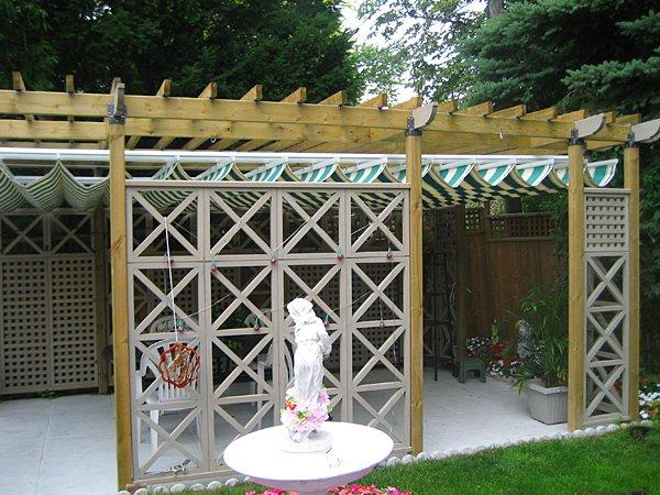 Retractable Canopy Under Wood Pergola