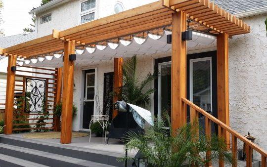 Beautiful Retractable Canopy with Cedar Post Beam