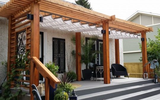 Beautiful Retractable Canopy with Cedar Post Beam