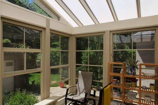 Sunroom With 4 Track Stacking Windows